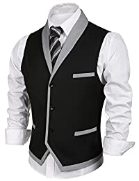 Coofandy Men's 3Button Business Suit Vest Casual Slim Fit Skinny Dress Vest Waistcoat