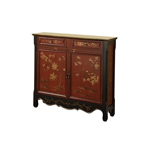 Powell Red Oriental 2-Door Console (Cabinet Asian Console)