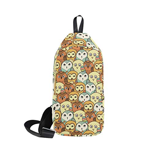 Canvas Crossbody Cute Owl Chest Bag Hiking Sling Daypack for Men & Women