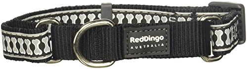 Red Dingo Martingale Reflective Bones 20mm Choke Collar, Black, Medium/Large by Red Dingo