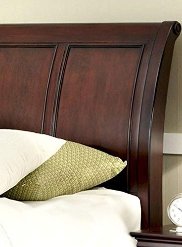 Home Styles Aspen Rustic Cherry and Black Queen Headboard with Raised Panels, Picture Frame Moldings, and Detailed Posts