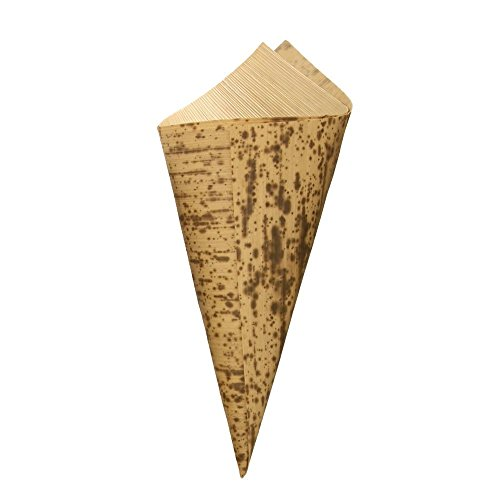 BambooMN 6.7 x 3 Premium Bamboo Leaf Cone, All Natural and Disposable Compostable for Catering and Home Use, 100 Pieces