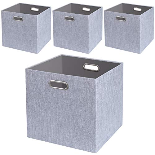 (Foldable Storage Bins,13x13 Storage Cubes Basket Containers for Shelf Cabinet Bookcase Boxes,Thick Fabric Drawers,4pcs, Sliver Grey)