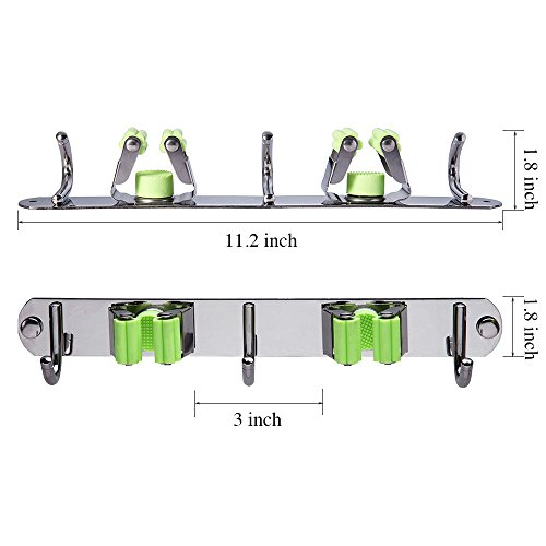 Mop and Broom Holder Wall Mount, Munto Stainless Steel Mop Holders, Garage Storage Racks for Kitchen and Garden (2 positions 3 hooks) by MUNTO (Image #3)