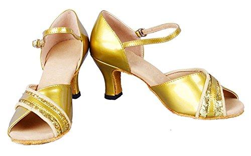Shoes B US Latin Dance Women's 5 Honeystore Heel Toe 5 Gold Mid Peep M qBRTRfxPw0