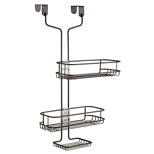 Finish Bronze Bar Mahogany (InterDesign Linea Adjustable Over Door Shower Caddy – Bathroom Storage Shelves for Shampoo, Conditioner and Soap, Bronze)