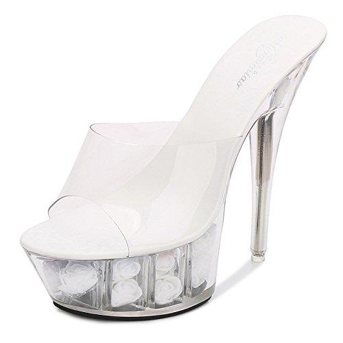 altos transparente alto XiaoGao Tacones de tacon boda centímetros 15 Zapatos de flores Blanco Zapatillas cristal de XBw8q