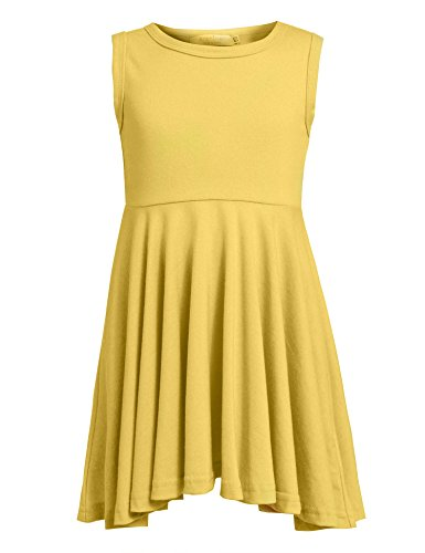 Arshiner Little Girls Sleeveless Casual Ruffle Dress,Yellow,130(Age for 9-10Y) -