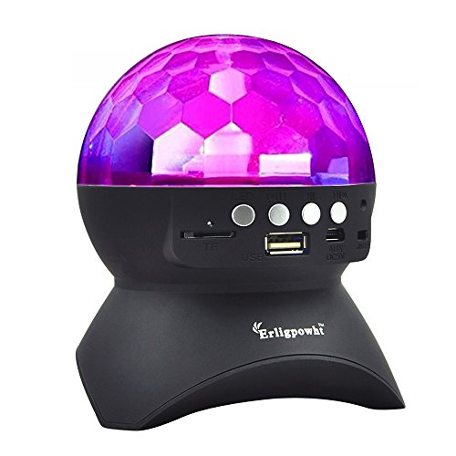 Erligpowht Stage Lights, Rotating Magic Effect Disco Ball Light with Wireless Bluetooth Speaker Mini Card Slot Rotating For KTV Xmas Party Club Pub Disco DJ (No Remote Control)
