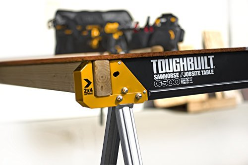 ToughBuilt Folding Sawhorse/Jobsite Table - Sturdy, Durable, Lightweight, Heavy-Duty, 100% High Grade...