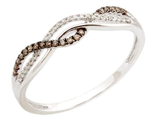 Twisted Half Eternity Anniversary Ring With Round Natural Brown & White Diamond, 925 Sterling Silver Size (Diamond Silver Eternity Ring)