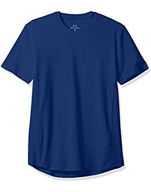 Men's Cotton Spandex Crew Neck Front Chest Logo Side Piping