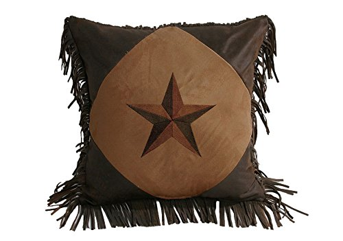 (HiEnd Accents Star Western Pillow, 18 by 18-Inch, Dark Tan)