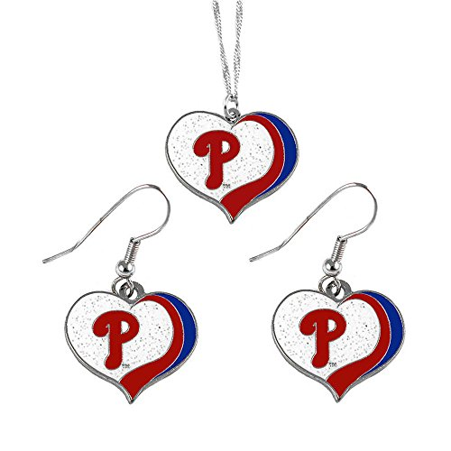 - aminco Philadelphia Phillies MLB Sports Team Logo Charm Gift Glitter Heart Necklace and Earring Set