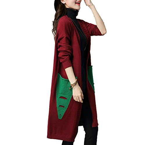 Cardigan Thickening Sweater Long Long Autumn Spring Christmas The Sleeve Paragraph Coat In Wild Ladies And Sweater WineRed Loose Winter nihiug Korean qwxXUIzT7w