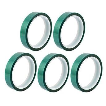 eDealMax 5pcs 18 mm Anchura 33M Verde Largo de PET calor de alta temperatura PCB Cinta