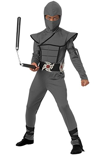 [Mememall Fashion Japanese Samurai Stealth Ninja Boy Child Costume (Grey)] (Child Blue Stealth Ninja Costumes)