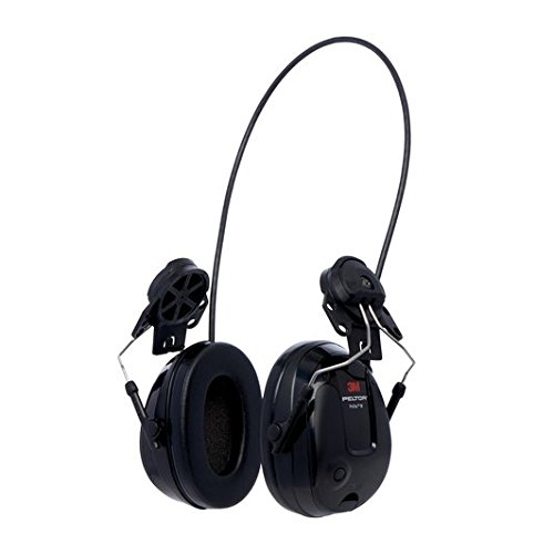 Hard Hat Hearing Protection - 3M 12318 PELTOR ProTac III Slim Headset, Hard Hat Attached, One Size, Black