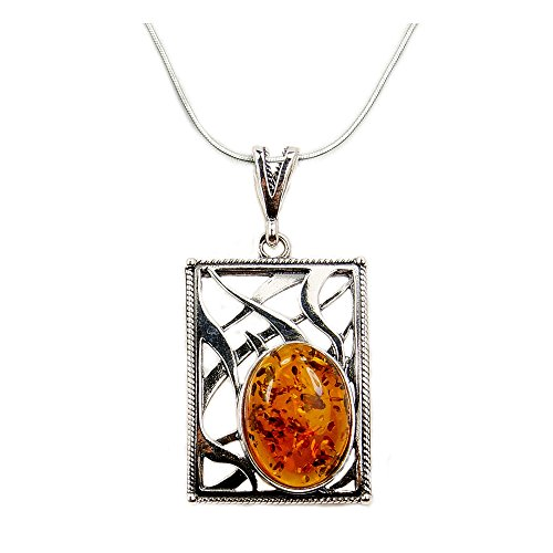 - Gorgeous Sterling Silver Natural Baltic Amber Pendant Necklace