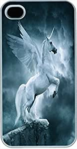 iPhone 4 Cases, iPhone 4s Cases, Unicorn with Wings Case for iPhone 4/4s -- White Plastic Case