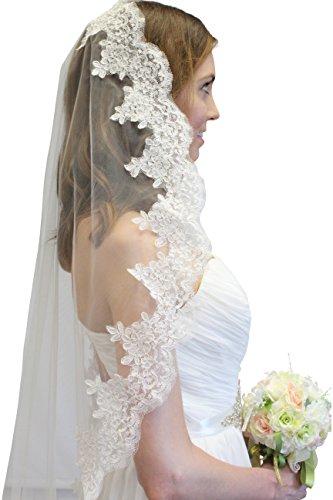 Alencon-Lace-One-Tier-Bridal-Wedding-Veil