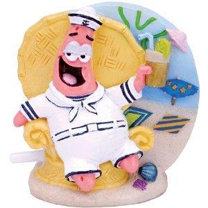 Penn Plax SpongeBob Patrick in Tiki Lounge Chair Aquarium Figure (Tank Figure)