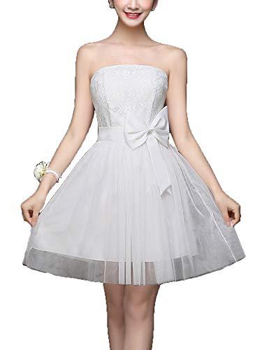 a215345d2cb21  Makalika  ベアトップ ミニ ドレス ワンピース レディース 大きいリボン 全6色(白