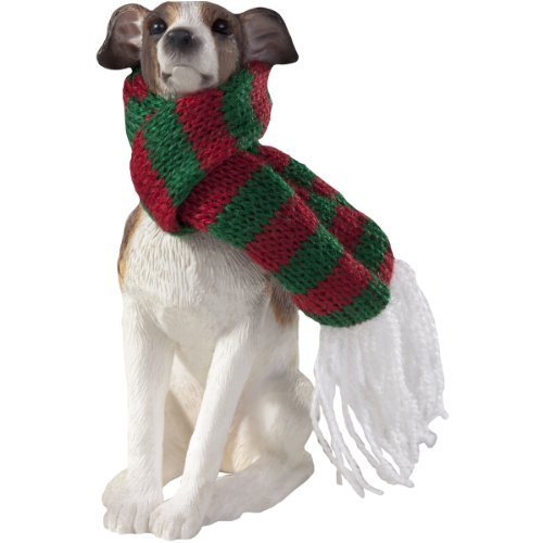Sandicast Greyhound with Red and Green Scarf Christmas Ornament - Grey Cat Ornament