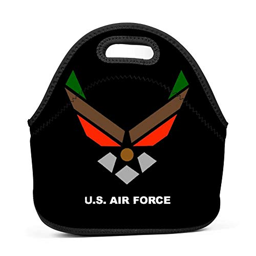 - US Air Force Wings Logo1 Neoprene Lunch Box Waterproof Lunch Bag Tote with Zipper for Kids,Women,Boys,Mens,Girls,School,Picnic