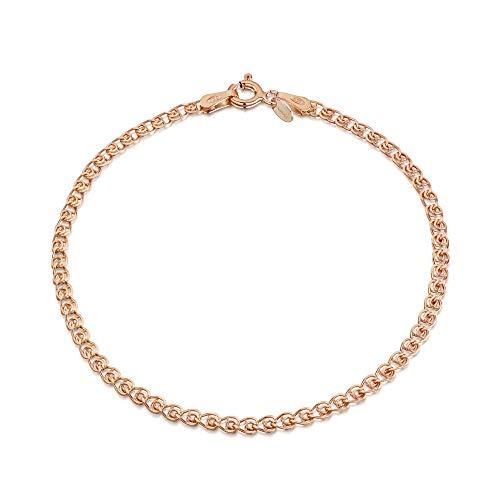 14K Rose Gold Plated on 925 Sterling Silver 2.3 mm Heart Chain Bracelet Length 7.5