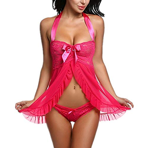 - Baby Doll Lingerie Plus Size See Through Lace Sleepwear Porn Dress Deep V Neck Erotic Babydoll(Rose,L)