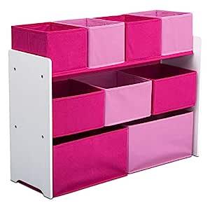 Dark Chocolate// Delta Children Deluxe Multi-Bin Toy Organizer with Storage Bins