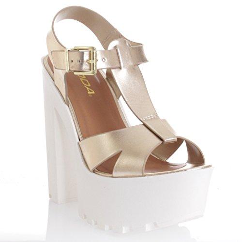 T-Strap Lug Sole Platform Chunky Heel Dress Sandals LT Gold 7