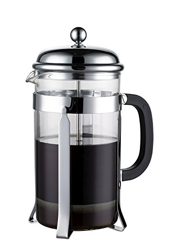 Coastline French Press & Espresso Maker | Makes 8 Cups (4 Mugs) | Coffee Press Heat-resistant Borosilicate Glass with Double Screen System Filters Coffee Thoroughly - No Grounds | Stainless Steel