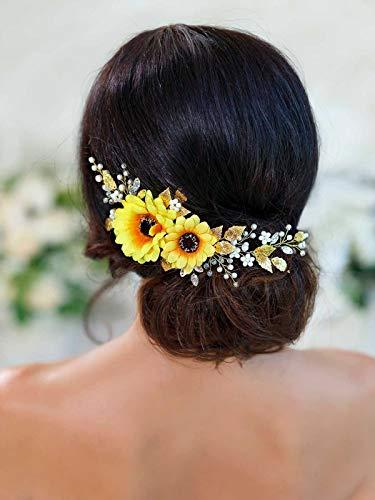 Barogirl Wedding Hair Vine Accessory Sunflower Bride Headpiece Gold Flower Headband for Women and Girls (Gold)
