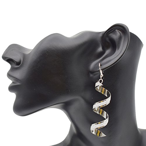 Maying Sparkling Frosted Spiral Long Pierced Drop Earrings (Silver) (Earring Spiral Dangling)