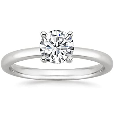 1 5 Carat Round Cut Diamond Solitaire Engagement Ring 14k White Gold