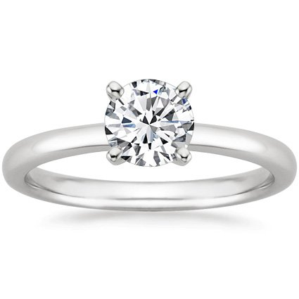 14K White Gold Solitaire Diamond Engagement Ring Round Brilliant Cut (G Color SI2 Clarity 0.45 ctw) - Size 8