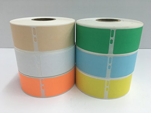 "6 Rolls of Assorted Colors 1-1/8""x3-1/2"" Dymo Compatible 30252 LabelWriter Address 350 Labels P/R (1 Roll Each BG,WH,GR,BL,OR,YL)"