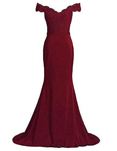 OYISHA Women's Off Shoulder Mermaid Evening Dresses Formal Celebrity Gowns PM259-A- Dark Burgundy (Celebrity Inspired Prom Gowns)