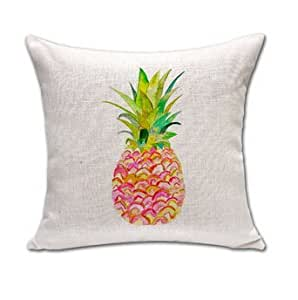 CCTUSGSH Pineapple Fruit Simple Style Cotton Throw Pillow Case Cushion Cover 16 X 16 Inches Two Sides