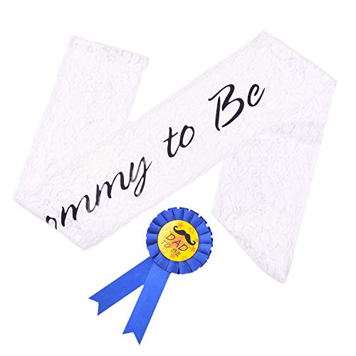 - White Lace Mommy to be Sash+Dad to be Tinplate Badge Pin Kit for Baby Showers, Baby Sprinkles,Gender Reveal,Soon to be Parents Celebration