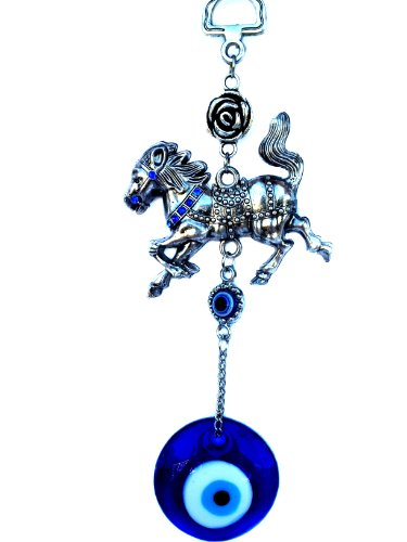 Betterdecor Blue Evil Eye with Tribute Horse Hanging Decoration Ornament (With a ()