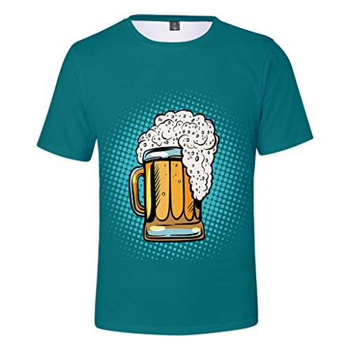 Togethor Mens Top Blouse Casual Summer Beer Festival 3D Printing O-Neck Short Sleeve Tees Cool T-Shirts Mint Green]()