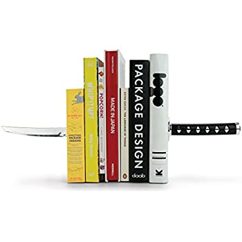 Mustard and Co. MUSTARD Bookends metal for shelves I Storage for Books, DVDs, CDs I Funny Gift idea for Men & Women I Stationery & Office Supply - Katana Samurai Sword