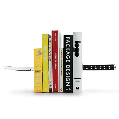 MUSTARD Bookends metal for shelves I Storage for Books, DVDs, CDs I Funny Gift idea for Men & Women I Stationery & Office Supply - Katana Samurai Sword - Man Stationery