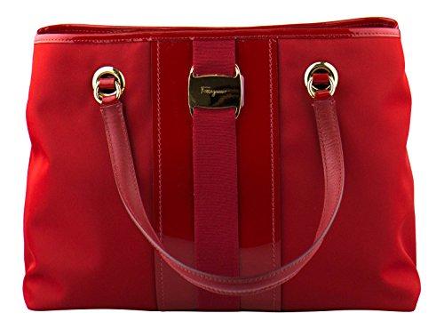 SALVATORE FERRAGAMO Red Leonora Canvas/Patent Leather Handbag