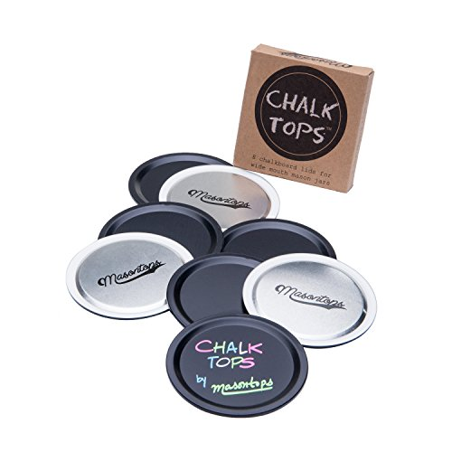 Chalk Tops - Reusable Chalkboard Lids for Mason Jars - 8 Pack - Wide Mouth