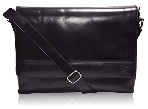 - Leather Laptop Messenger Bag for Men - Premium Office Black Briefcase 13