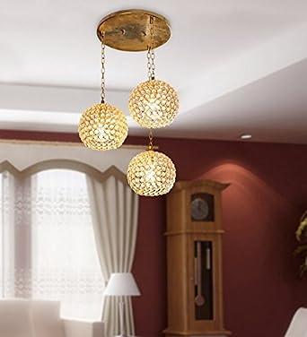 GIG Handicrafts Golden Crystal Hanging Light Set Of 3 For Living Room And Home Decor
